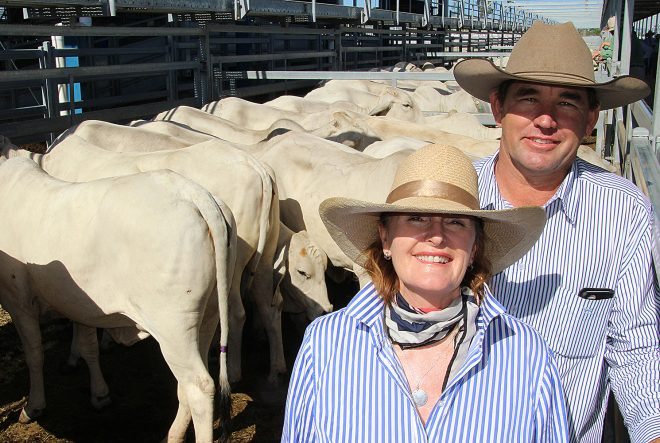 1st Placing Res Champion 2 - Jennifer McCamley & Tom Emmery, Kaiuroo Station with their Reserve Champion Pen of Heifers at the 2015 ABBA Brahman Commercial Female Show & Sale conducted at Gracemere, Rockhampton.